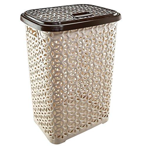 Uniware 60 LT Hollow Design Clothes Hamper Laundry Basket, Made In Turkey,White/Beige (1, - 60l Basket