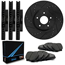 Front + Rear [ELITE SERIES] Black Anti-Rust Slotted & Drilled Rotors and Carbon Pads Brake Kit TA144083 | Fits: 1995 95 1996 96 Fits Subaru Impreza AWD model AND FWD Models with 4 Wheel ABS + R