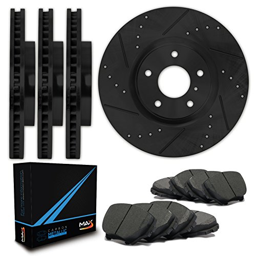 Max Brakes E-Coated Slotted+Drilled Rotors w/Metallic Pads Front + Rear Elite Brake Kit KT078283 [Fits 2007-2013 Escalade Avalanche Yukon Tahoe Silverado Suburbon Sierra 1500]