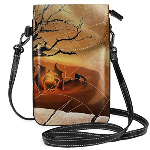Small Cell Phone Purse For Women Leather Spider Web Insides Card Slots Crossbody Bags Wallet Shoulder Bag -