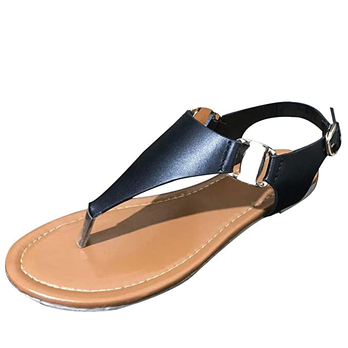 87efdaacddcef Women's T-Strap Flat Sandal Summer Roman Open Toe Beach Bohemia Ankle High  Zipper Toepost Sandals