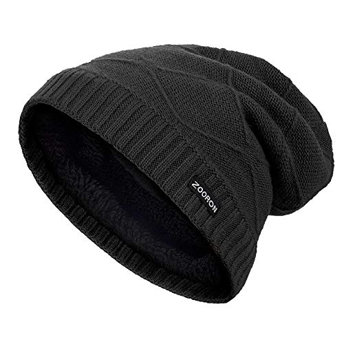 ZOORON Cable Knit Slouchy Beanie for Men Women, Lined Winter Beanie Hats for Men Chunky & Warm, Trendy Thick Skull Cap (Black)