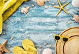 Baocicco 8x6.5ft Summer Seaside Holiday Discolored Blue Countryside Rustic Horizontal Texture Plank Board Towel Sunglasses Straw Hat Slippers Sea Stars Conchs Shells Children Baby Adults Portraits