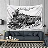 Anhuthree Steam Engine Tapestry Table Cover Bedspread Beach Towel Rustic Old Train in Country Locomotive Wooden Wagons Rail Road with Smoke Dorm Decor 71''x60'' Black and White
