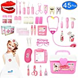 JGSY Kids Doctor Kit, 45 Pcs Pretend Play Toys Dentist Medical Educational Toy with Electronic Stethoscope and Coat, School Classroom and Doctor Roleplay Dress-Up