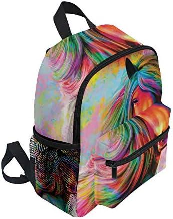 水彩レインボーホース幼児就学前のバックパック本袋ミニショルダーバッグリュックサック通学用1-6年旅行男の子女の子