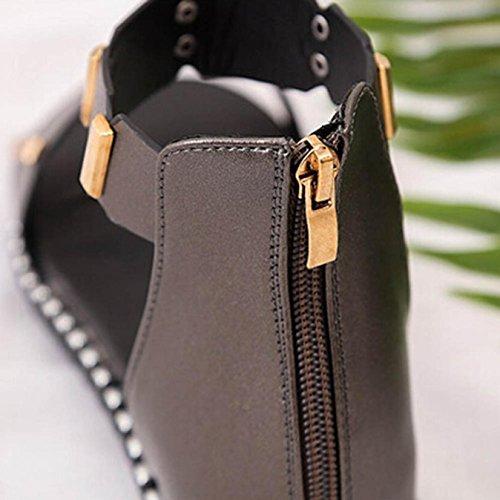 Sandalias De Mujer, Internet Zapatos Planos De La Sandalia Del Nuevo Verano De Las Mujeres Con La Cremallera Gris