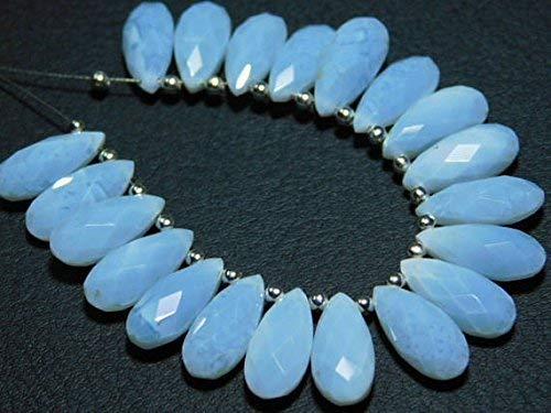 1 Strand Natural-African Blue Opal Faceted Flat Pear Teardrop Briolette-Stones Measure- 15x7mm by Gemswholesale