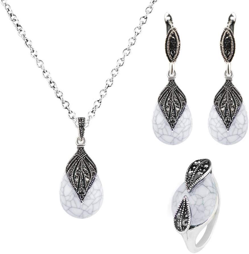 AchidistviQ Vintage Hoja de imitación de Turquesa Colgante Collar Anillo Leaverback Pendiente joyería Conjunto Silver + White US 8