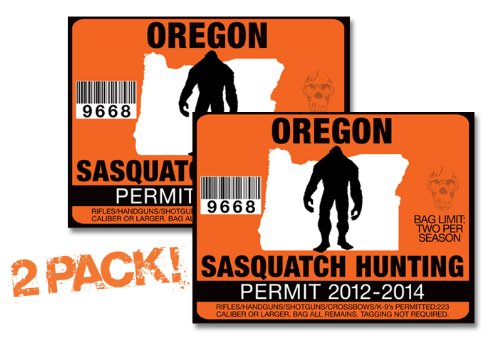 Oregon-SASQUATCH HUNTING PERMIT LICENSE TAG DECAL TRUCK POLARIS RZR JEEP WRANGLER STICKER 2-PACK!-OR