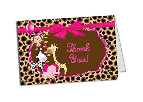 50 Girl Jungle Foldover Thank You Cards - Baby Shower - Birthday Party - Any Occasion - A6 Size