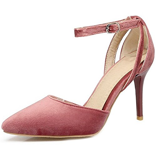 SJJH Elegant Stiletto Sandals with Sexy Suede Materail and Large Size for Office Lady Pink pFYFuT