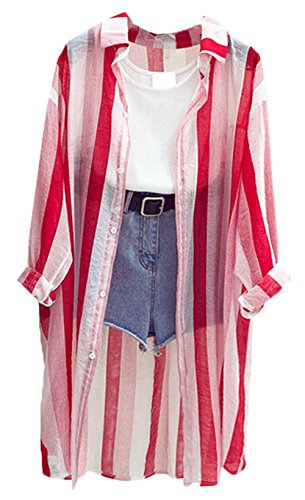Bevalsaレディース ストライプ 長袖 シャツ ゆったり コート 薄手 カジュアル ロング丈 アウター ゆったり 春服 日焼け止め服 パーカー オーバー 無地 大きいサイズ ファッション