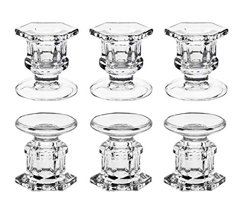 "Candle Holder, Dedoot Pack of 6 Glass Candle Holders Bulk Clear Candlestick Holders Centerpiece Fit 7/8"" Taper or 1 7/8"" Pillar Candle, Decorative Candle Stand 2.3"" Height for Table Wedding Party"