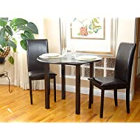 Dining Kitchen Set 3 Pcs Classic Round Table and 2 Solid Wooden Chairs Fallabella Espresso Black Finish