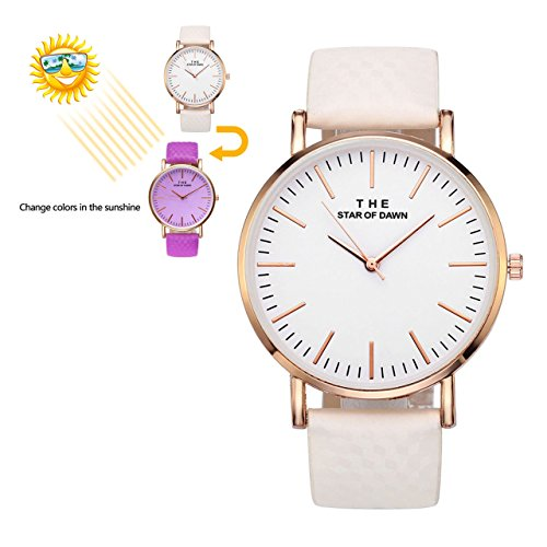 Changing Color Watch (Top Plaza Women Fashion Simple Analogue Watches Solar Colour Changing Watch Colorful PU Strap Wrist Watch 3ATM Waterproof)