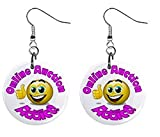 Online Auction Addict Novelty Dangle Button Earrings Jewelry 1 inch Round 14006623