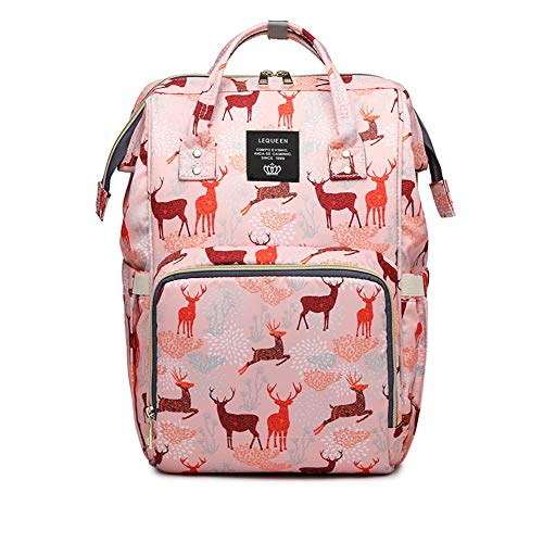 Starte Deer Cartoon Diaper Bag for Mom/Dad,Waterproof Travel Backpack,Spacious Tote Shoulder Bag Organizer,Pink