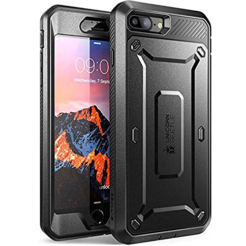 SUPCASE Unicorn Beetle Pro Series Case Designed for iPhone 8 Plus, with Built-In Screen Protector Full-body Rugged Holster Case for Apple iPhone 7 Plus 2016 / iPhone 8 Plus 2017 Release (Black/Black)