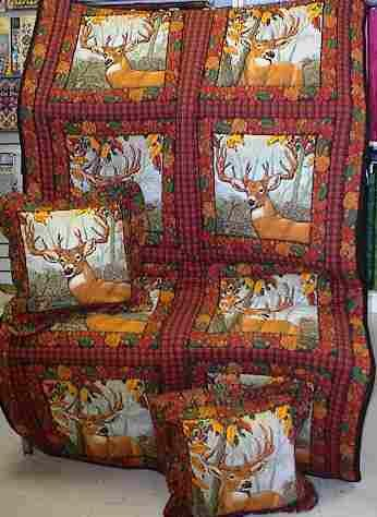 Deer Quilted Throw 42''x70'' with 2 16'' zippered Throw Pillows Set by Custom Quilts, Inc