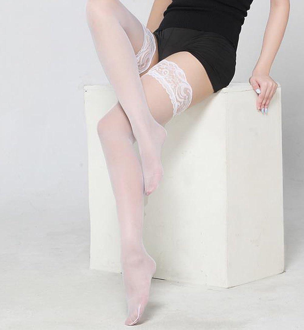 Dans Bas Autofixants Femme,Haute Bas Autofixants en Dentelle Transparente Couture /Élasticit/é Bas(Noir) Weimay