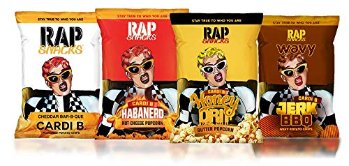 Ultimate Rap Snack Cardi B Variety Pack-Cheddar Bar-B-Que chips, Habanero Hot Cheese Popcorn, Honey Drip Butter Popcorn, Jerk BBQ chips-2.75oz Bags (Pack of 4) (Bbq The Ultimate)