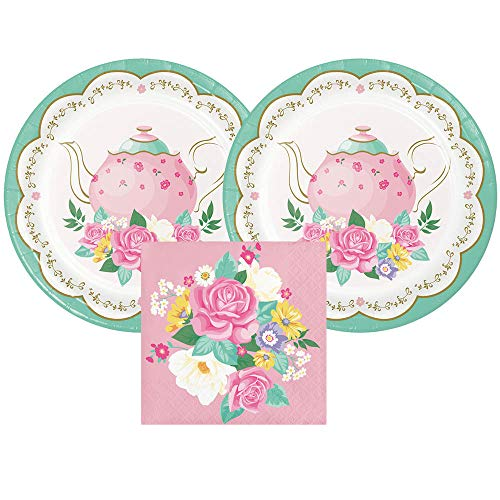 Tea Party or Sip-N-See or Sip and See Paper Dessert Plates and Paper Napkins, 16 Servings, Bundle- 3 Items
