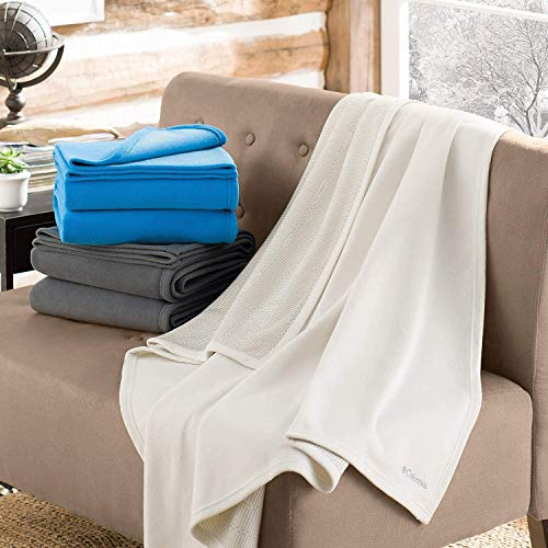 Columbia Sportswear Cozy Soft Fleece Throw Blanket with Thermal Coil Warm Body Heat Insulating Techn Grey