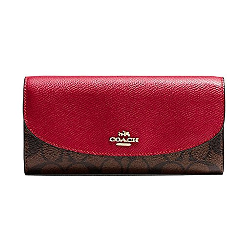 COACH Womens PVC Signature coated canvas with crossgrain leather trim Wallet F54022 IML72 Red by Coach