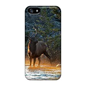 Tpu Case For Iphone 5/5s With Beautiful Forest Elk At Sunset
