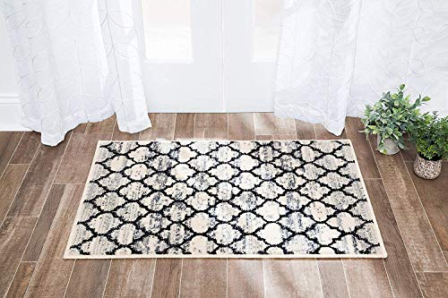 Mizuri Lattice Abrash Area Rug, 4 x 6 , Black And White