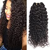 MSGEM 3 Bundles Deal Curly Virgin Hair Unprocessed Brazilian Human Hair Extensions Brazilian Deep Wave Curly Hair Natural Black Mixed Length (16 18 20inch)