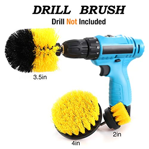 Corded Brush - Drill Brush Attachment Kits, 3 Pieces Cleaning Power Scrubber Brush Heads for Cordless/Corded Drills, All Purpose Bathroom Surface, Grout, Tub, Shower, Kitchen, Drill Is Not Included (Medium-Yellow)
