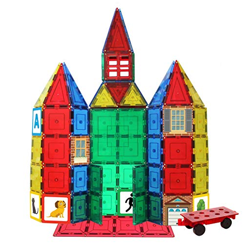 Shapes Play - Shapemags 124 Piece Set, Made With Power+Magnets, 100 Clear Color Tiles, Includes 24 StileMags, 12X12 Stabilizer Plate and Car Base