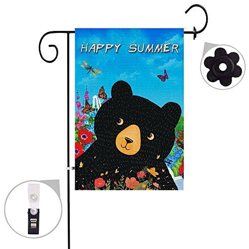 Bonsai Tree burlap bear Spring Garden Flags 12x18 prime doub