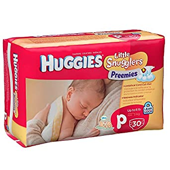 Huggies Diapers Little Snugglers Preemies Diapers Fits Up to 6 lbs Size P Cs of 180