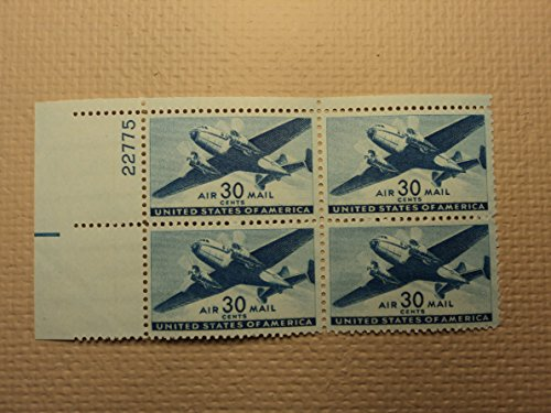 C30 Air (USPS Scott C30 30c Air Mail Transport Plane 1941 Mint NH OG Plate Block 4 Stamps)