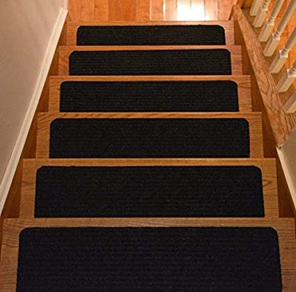 Stair Treads Collection Set Of 13 Indoor Skid Slip Resistant Carpet Stair Tread Treads Black 8 Inch X 30 Inch Black Set Of 13