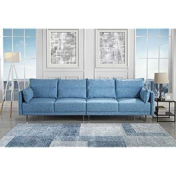 Amazon Com Zara Fabric Tufted Sofa With Chrome Legs