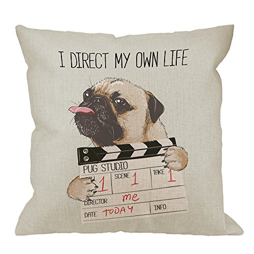 HGOD DESIGNS Pug Pillow Covers,Decorative Throw Pillow Pug dog with Director Slate I Direct My Own Life Pillow cases Cotton Linen Outdoor Indoor Square Cushion Covers For Home Sofa couch 18x18 inch