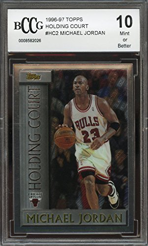 1996 97 Topps Holding Court  Hc2 Michael Jordan Chicago Bulls Bgs Bccg 10 Graded Card