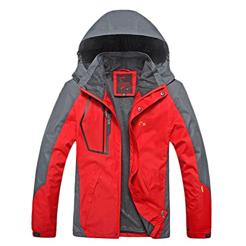 8XL Gift Durable Day Plus Jacket Rojo Buena Size Hoodie Windbreaker Father's Big tela and 2XL for Tall Zhhlaixing Waterproof Mens FqYUnP