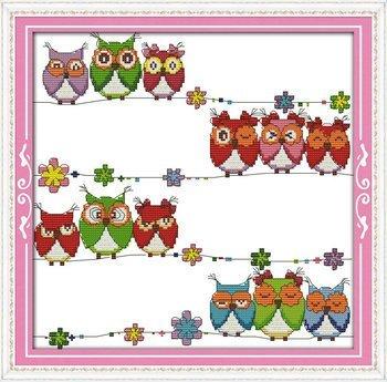 Joy Sunday Cross Stitch kits, Lovely owls,11CT Stamped, 44cm