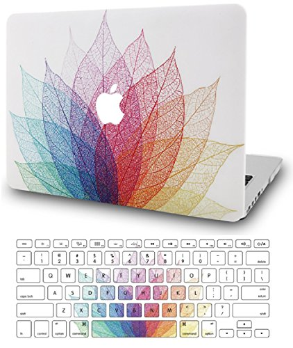 KEC MacBook Air 13 Inch Case with Keyboard Cover Plastic Hard Shell Rubberized A1369 / A1466 (Leaf - Colorful 2)