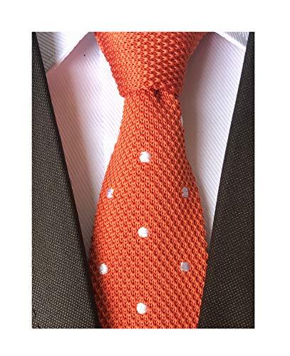- Secdtie Men Classic Autumn Woven Bright Orange Knit Tie uk Formal Cotton Necktie