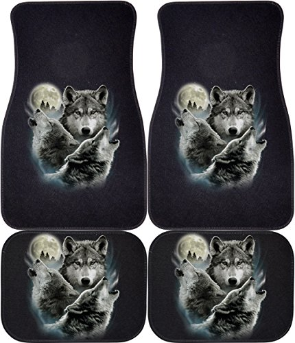 Wolf Car Mats - Three Wolves (Black, Rears) Car and Truck Front and Rear Mats - Set of 4