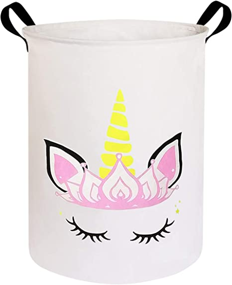 Clothes HIYAGON Laundry Baskets,Collapsible Hamper Bedroom Nursery,Kids,Boys Canvas Fabric Laundry Hamper,for Toy Organizer Bins,Gift Baskets Pink Horned Unicorn