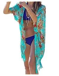 Womens Boho Chiffon Kimono Beach Swimsuit Cover Ups,Cardigan for Bikini