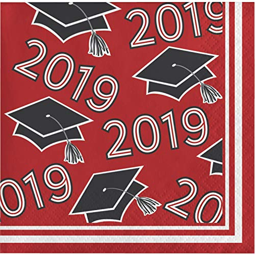 Red Border Background - Red Class of 2019 Beverage Napkins, 108 ct