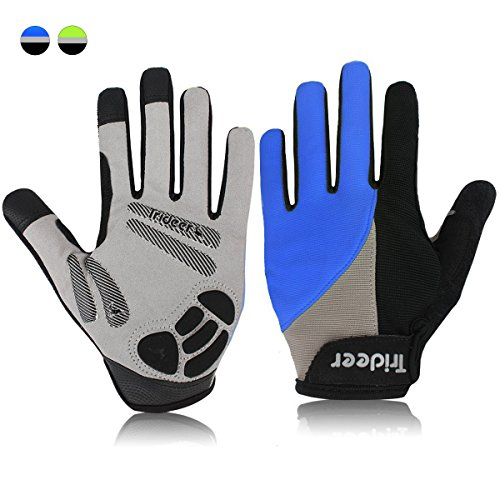 Trideer Touch-Screen Cycling Gloves, Mountain Road Gloves Anti-Slip Shock - Absorbing Silica Gel Grip, Biking Gloves fit men & women. (Full Finger Blue, M (Fits 7.0-7.6 inches))